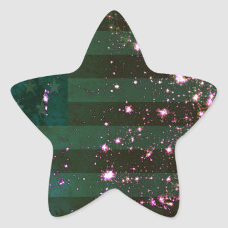 Lights of the United States from Space and Flag. Star Stickers