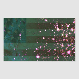 Lights of the United States from Space and Flag. Rectangle Stickers