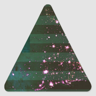 Lights of the United States from Space and Flag. Triangle Sticker