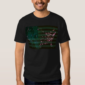 Lights of the United States from Space and Flag. Tshirt