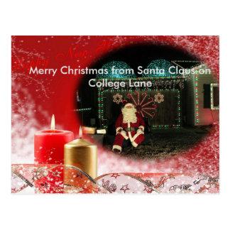 Light's on College Lane Santa  Christmas Post Card