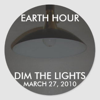 Lights On / Off - Dim the Lights for Earth Hour Classic Round Sticker
