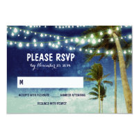 lights & palm trees beach blue wedding RSVP cards