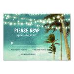 lights & palm trees beach teal wedding RSVP cards Custom Announcement