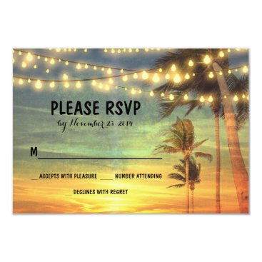 Beach Themed lights palms beach sunset wedding RSVP cards