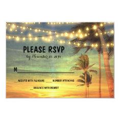 lights palms beach sunset wedding RSVP cards Invitation