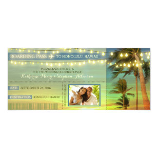 "Lights Palms Save The Date Boarding Pass Tickets 4"" X 9.25"" Invitation Card"