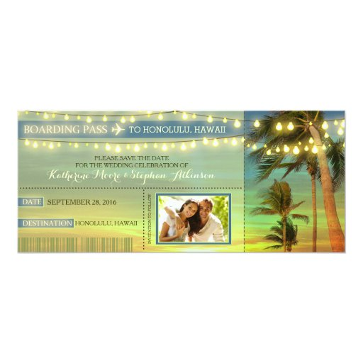 Lights Palms Save The Date Boarding Pass Tickets Custom Announcements