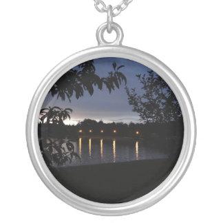 Lights Reflecting on Lake Swan, Georgia Round Pendant Necklace