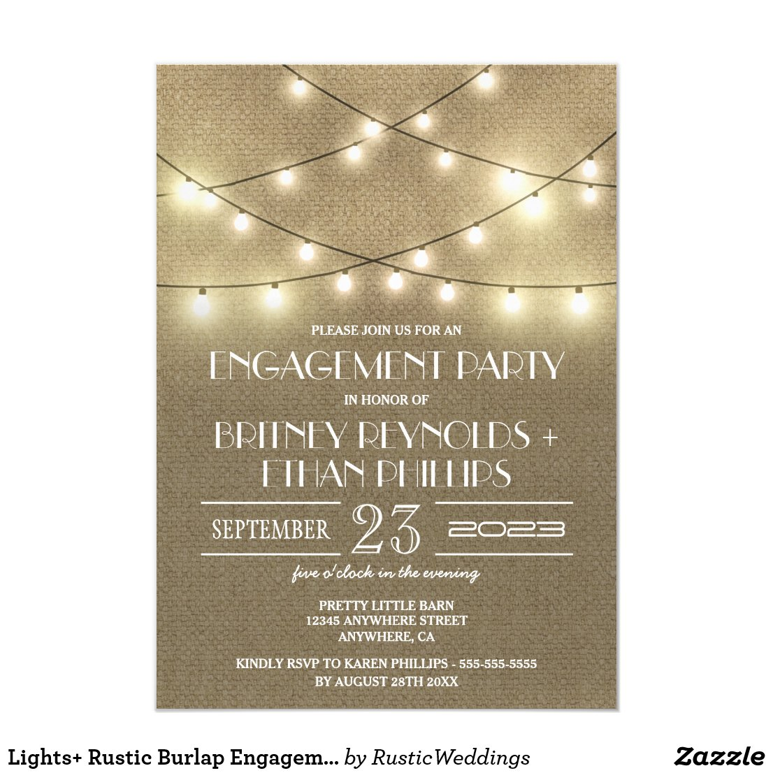 Lights+ Rustic Burlap Engagement Party Invitations