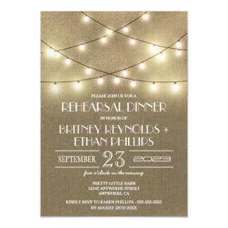 Lights  Rustic Burlap Rehearsal Dinner Invitations
