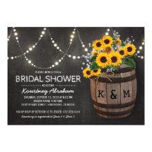 Lights Rustic Vineyard Sunflower Bridal Shower Card