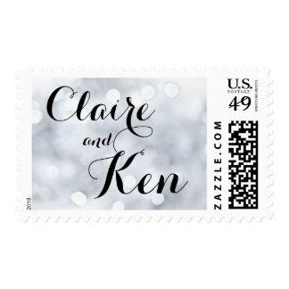 Lights Snow Glitter Sparkle Silver Postage Stamp
