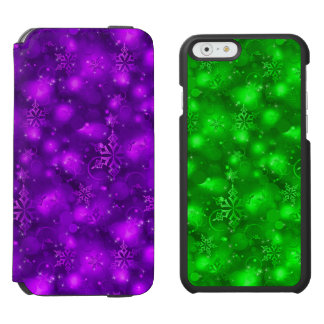 Lights/Snowflakes, Purple/Green (iPhone6/6,SEor5/5 iPhone 6/6s Wallet Case