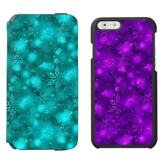 Lights/Snowflakes, Teal/Purple (iPhone6/6,SEor5/5) iPhone 6/6s Wallet Case
