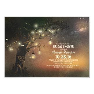 Lights Tree & Mason Jars Rustic Bridal Shower 5x7 Paper Invitation Card