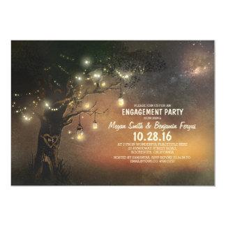 Lights Tree & Mason Jars Rustic Engagement Party Card