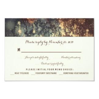 lights tree romantic wedding RSVP cards