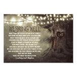 "lights tree wedding wishing well rustic cards 3.5"" x 5"" invitation card"