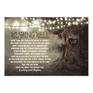 lights tree wedding wishing well rustic cards