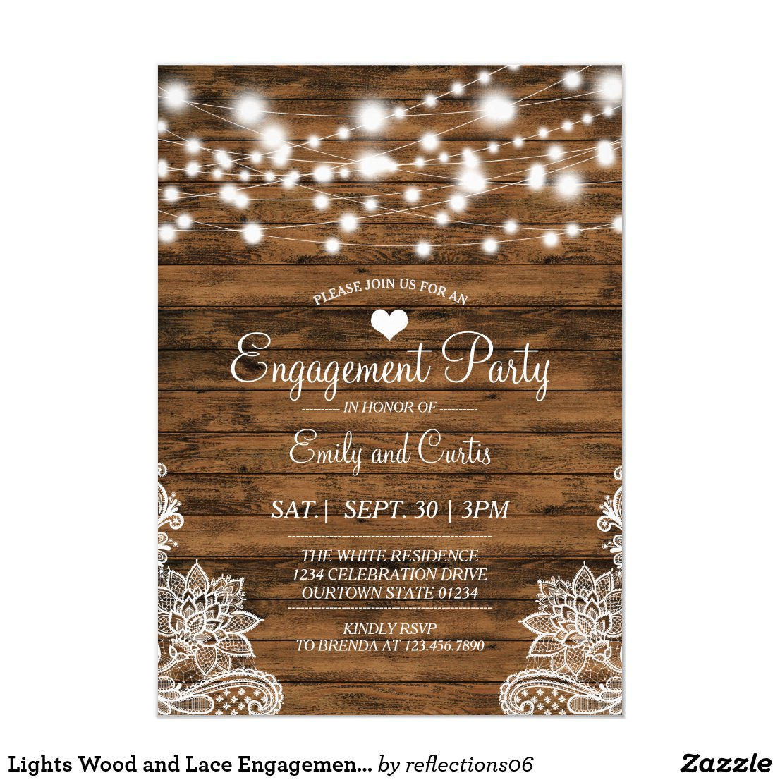 Lights Wood and Lace Engagement Party Invitation