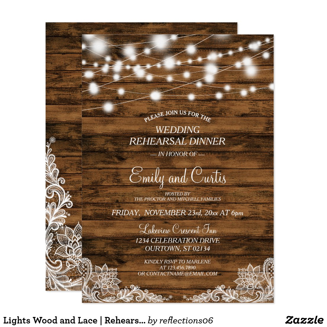 Lights Wood and Lace | Rehearsal Dinner Invitation