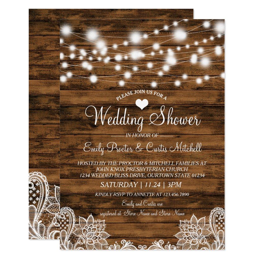Lights Wood & Lace Wedding Shower Invitation