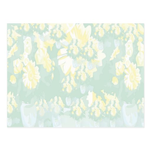Lightshade Yellow Green Floral Template Post Cards