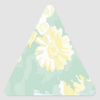Lightshade Yellow Green Floral Template Triangle Sticker