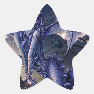 Ligón abstracto del chica del dragón de la pegatina en forma de estrella