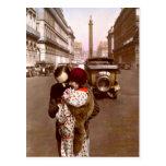 Ligón del francés - amor romántico del vintage postal