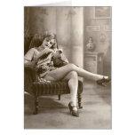 Ligón del francés - chica modelo de la calcetería tarjeta pequeña