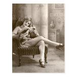 Ligón del francés - chica modelo de la calcetería postal