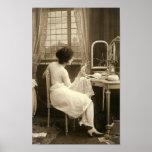 Ligón del francés - chica modelo del vintage poster