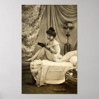 Ligón del francés - chica modelo del vintage impresiones