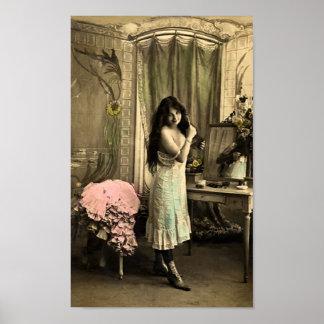 Ligón del francés - chica modelo del vintage póster