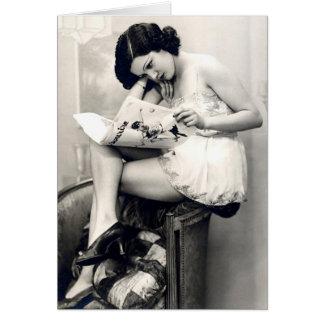 Ligón del francés - chica modelo del vintage tarjeta pequeña