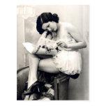 Ligón del francés - chica modelo del vintage tarjetas postales