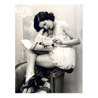 Ligón del francés - chica modelo del vintage postal