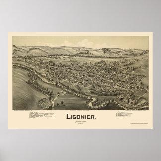 Ligonier, PA Panoramic Map - 1900 Poster