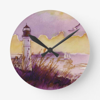 ligthouse  watercolor clock