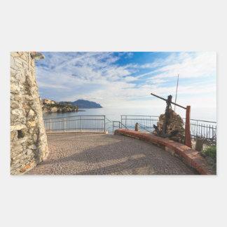 Liguria - promenade in Sori Rectangular Sticker