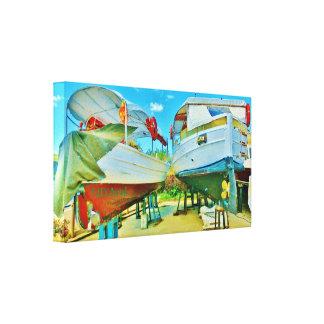 Ligurian Sea Dry Dock Boats, Wrapped Canvas Print