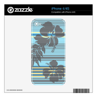Lihue Hibiscus Stripe Hawaiian iPhone 4/4S Skin Decals For The iPhone 4