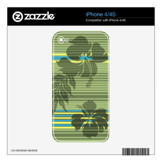 Lihue Hibiscus Stripe Hawaiian iPhone 4/4S Skin Skins For The iPhone 4S