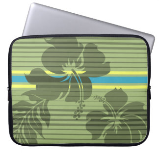 Lihue Hibiscus Stripe Hawaiian Neoprene Wetsuit Laptop Sleeve