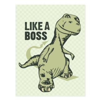 Like a Boss Dinosaur Post Card