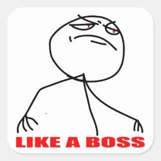 Like a boss meme face square sticker
