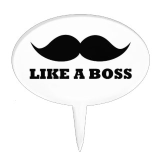 LIKE A BOSS, moustache design Cake Topper