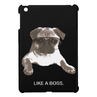 Like A Boss Pug in Glasses Dark iPad Mini Case